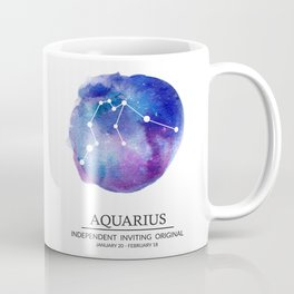 Aquarius Watercolor Zodiac Constellation Coffee Mug