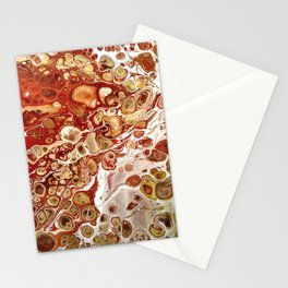 Red and Gold Fluid Pour Abstract Painting Stationery Cards