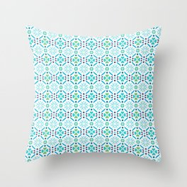 Floral Mosaic Turquoise Pattern Throw Pillow