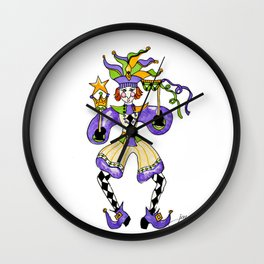 Mardi Gras Jester Wall Clock