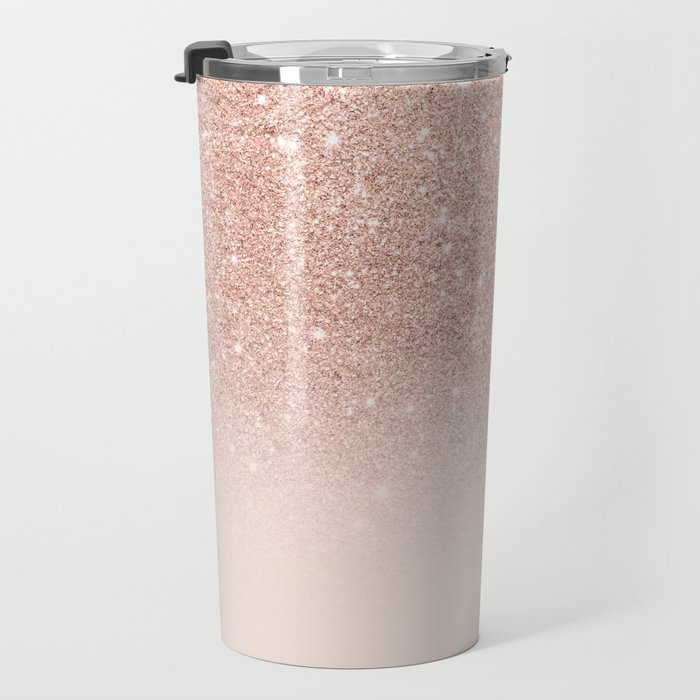 Rose gold faux glitter pink ombre color block Travel Mug