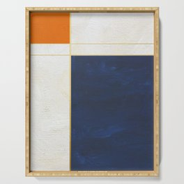 Orange, Blue And White With Golden Lines Abstract Painting Serving Tray