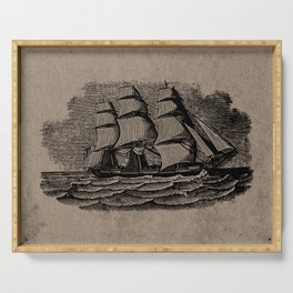 Vintage Sailing Ship - Antique Book Plate Etching - Retro Style Brown and Black Serving Tray