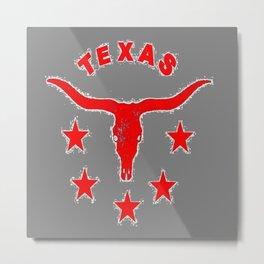 Western Red & White Texas Longhorn Logo GreyPattern Art Metal Print
