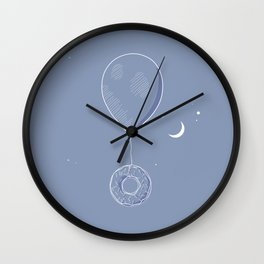 Blue balloon with flying donut Wall Clock