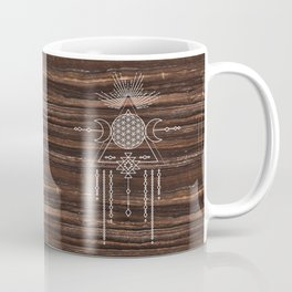 Triple Goddess - Flower of Life - Moon Phase - Shaman - Tribal - Sri Yantra - Brown Marble - Wood - Coffee Mug