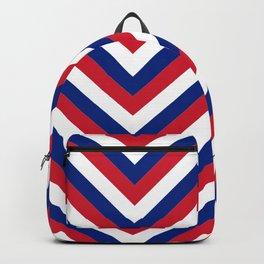 UK Union Jack Red White and Blue Jumbo Chevron Stripes Backpack