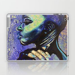 Feeling Blue:Acrylic painting,woman,girl,female,pretty,beautiful,black,art,nails,lips,bald,original, Laptop & iPad Skin