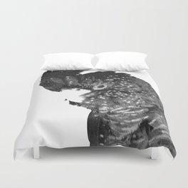 Black and White Cockatoo Illustration Duvet Cover
