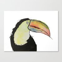 toucan Canvas Prints featuring Toucan by Adele Manuti