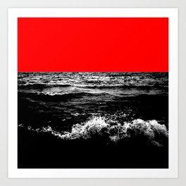 Black Wave w/Electric Red Horizon Art Print