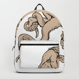 Hercules Fighting Giant Octopus Drawing Backpack