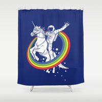 unicorns Shower Curtains featuring Epic Combo #23 by Jonah Makes Artstuff