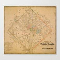 Civil War Washington D.C. Map Canvas Print