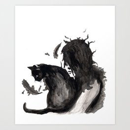 Black Cat Pixel Art Print