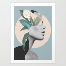 Floral Portrait /collage Art Print