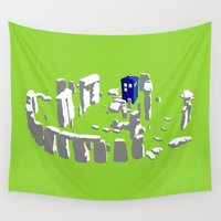 tardis Wall Tapestries featuring Stonehenge Tardis by tuditees