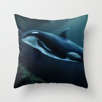 orca Throw Pillows featuring Orca by Wesley S Abney