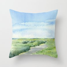 Sky and Grass Landscape Watercolor Throw Pillow
