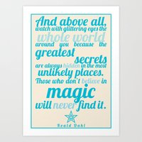 roald dahl Art Prints featuring Roald Dahl / Typography Quote by Farquharson