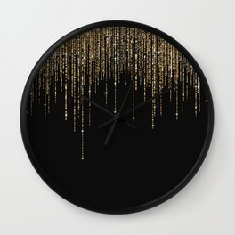 Luxury Chic Black Gold Sparkly Glitter Fringe Wall Clock