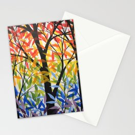 Abstract Art Original Landscape Painting ... Spectrum of Trees Stationery Cards