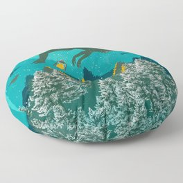 FLOATING FOREST BLUE Floor Pillow