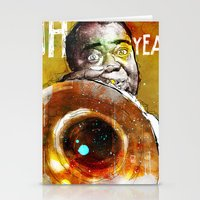 louis armstrong Stationery Cards featuring Louis Armstrong by Ed Pires
