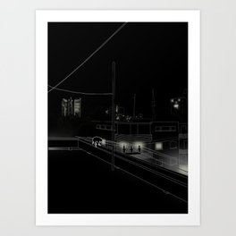 Dog on the roof Art Print