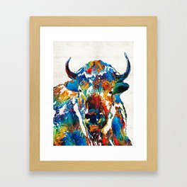 Colorful Buffalo Art - Sacred - By Sharon Cummings Framed Art Print