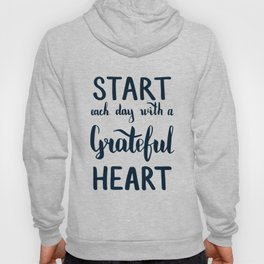 Start each day with a grateful heart Text on sea photo Hoody