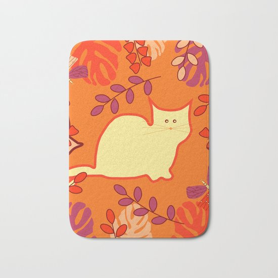 Curious cat, butterflies and leaves Bath Mat