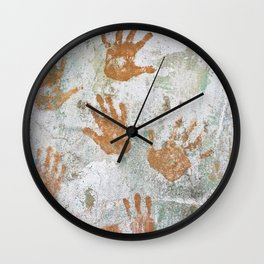 Hand Prints Native Cuban Cuba Trinidad Old Walls Stucco Latin America Caribbean Island Graffiti Wall Clock