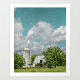 White Barn and Blue Sky Art Print