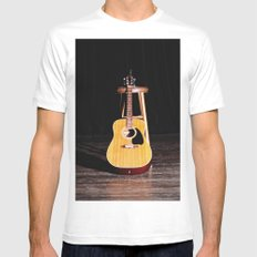 The Silent Guitar MEDIUM White Mens Fitted Tee