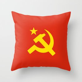Communist Hammer & Sickle & Star Throw Pillow