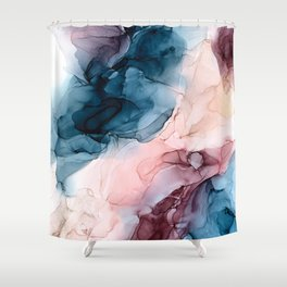 Pastel Plum, Deep Blue, Blush and Gold Abstract Painting Shower Curtain