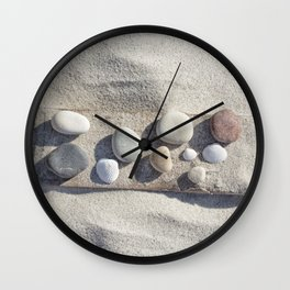 Beach pebble driftwood still life Wall Clock
