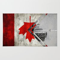 canada Area & Throw Rugs featuring Flags - Canada by Ale Ibanez