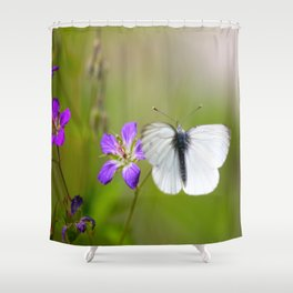 White Butterfly Natural Background Shower Curtain