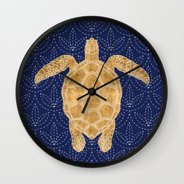 Golden Turtle Wall Clock