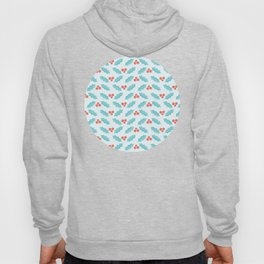 Holly Pattern over Aqua Background Hoody