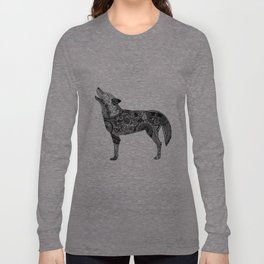 Henna-Inspired Wolf Long Sleeve T-shirt