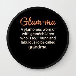 Womens Glam-ma Golden Hatter Grandma Grandparents Gift Wall Clock