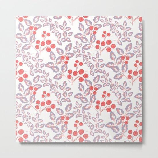 Delicate sprigs, red - orange flowers. Metal Print