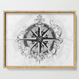 Black and White Scrolling Compass Rose Serving Tray