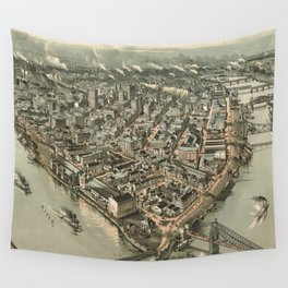 Vintage Pictorial Map of Pittsburgh (1902) Wall Tapestry
