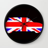 mini cooper Wall Clocks featuring Mini Cooper by Derek Donovan