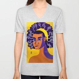 Black Woman in Warm Colours Unisex V-Neck