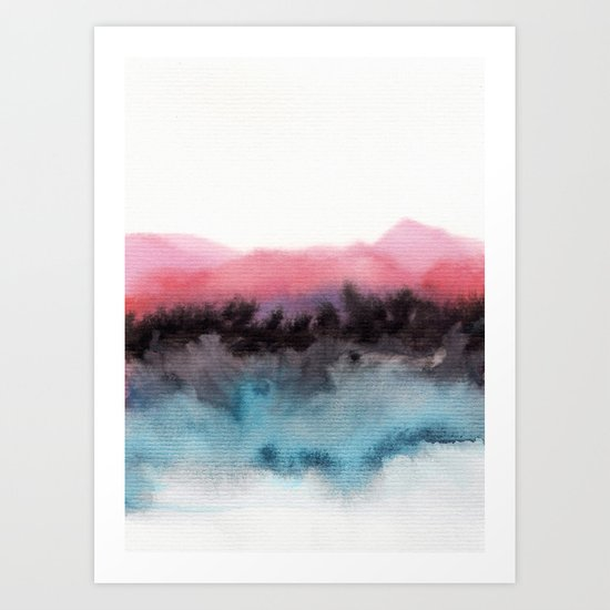 Watercolor abstract landscape 10 Art Print